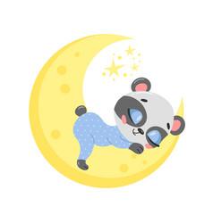 a cute cartoon panda sleeping vector image