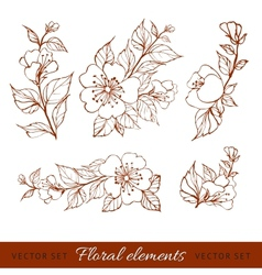 Abstract flower set vector image