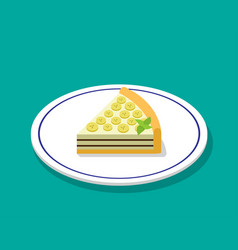 Banana cheese cake in 3d cartoon style vector