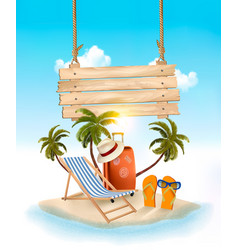 beach with palm trees and wooden sign summer vector image