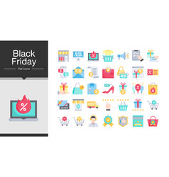 black friday icons flat design icon set vector image