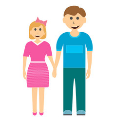 brother and sister holding hands isolated on white vector image