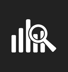 business graph icon chart flat on black background vector image