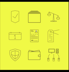 business linear icon set simple outline icons vector image