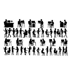 business people silhouette set man woman vector image