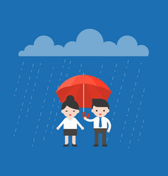 businessman sharing an umbrella with vector image