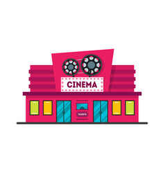 cartoon cinema building vector image vector image