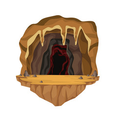 cave interior scene in deep mountain vector image