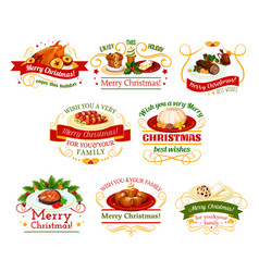Christmas cuisine dinner badge for new year design vector