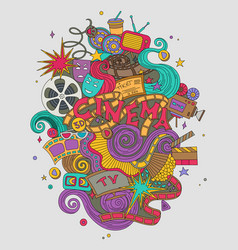cinema movie film doodles hand drawn vector image