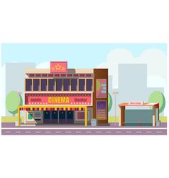 cinema theater on city street flat vector image