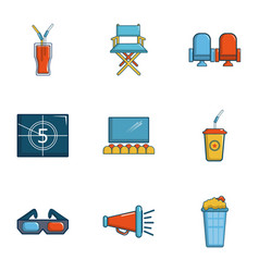 Cinematography icons set cartoon style vector