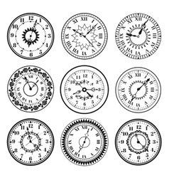 Clock watch alarms black icons vector