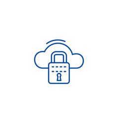 cloud security line icon concept cloud security vector image
