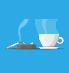 coffee cup and ashtray full of smokes cigarettes vector image