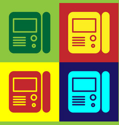 Color house intercom system icon isolated on color vector