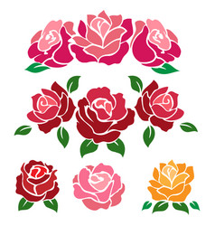 Colorful roses isolated on white background vector