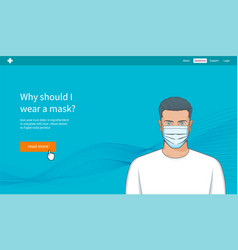 Concept young man with medical mask vector