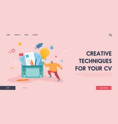 Creative businessman having good idea website vector