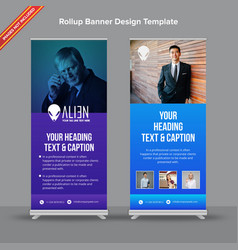 Creative rollup banner with blue and purple vector