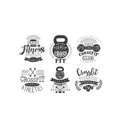 crossfit premium athletics retro labels set vector image