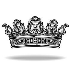 crown black and white king queen 333 vector image