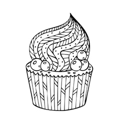 Cupcake coloring for adults vector