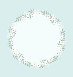 cute flat style white daisy flower wreath frame vector image