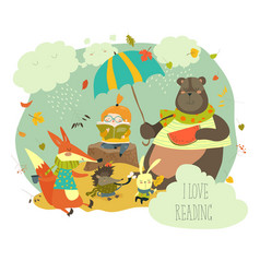 Cute girl reading book to wild animals vector