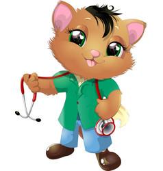 Cute kitten cartoon vector
