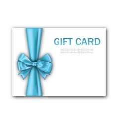 Decorated Gift Card with Blue Ribbon and Bow vector image