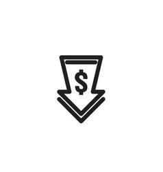 Dollar arrow decrease icon money arrow symbol vector