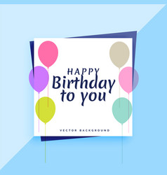 elegant happy birthday card design with colorful vector image