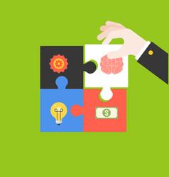 Entrepreneur qualification jigsaw puzzle vector