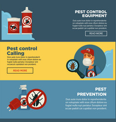 Extermination pest control service banners vector