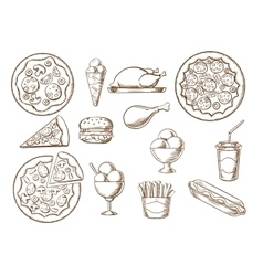 Fast food drink and desserts sketches vector
