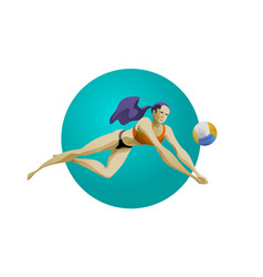 Female volleyball player digging for ball vector