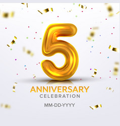 fifth anniversary birth celebration number vector image