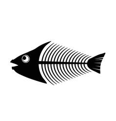 fish bone skeleton symbol isolated on white vector image