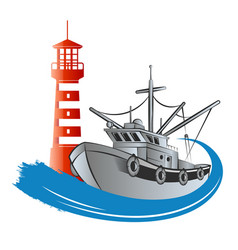 fishing trawler and lighthouse vector image
