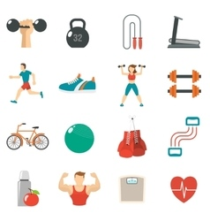 Fitness Icon Flat Set vector image