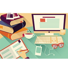 Flat design objects work desk office desk books vector image