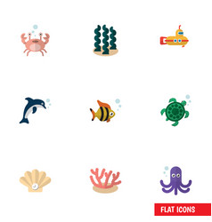 Flat icon nature set alga tentacle conch and vector