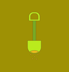Flat icon on background kids toy shovel sand vector