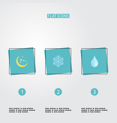 flat icons night water winter snow and other vector image