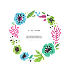 Floral flat round frame template with text space vector