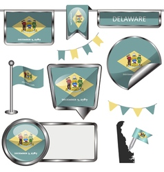 Glossy icons with Delawarean flag vector image
