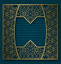 golden cover background patterned square frame vector image