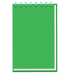 green notebook for school with metal spiral vector image