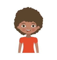 Half body brunette girl with curly hair vector